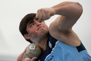 Nazareno Sasia of Argentina competes in boys shot put at the Youth Olympic Games in Buenos Aires (Joel Marklund for OIS/IOC)