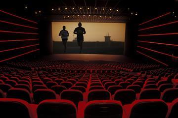 Athletics films at a movie theatre ()