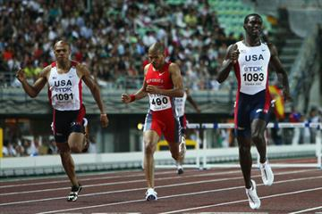 James Carter of USA, Felix Sanchez of the Dominican Republic and Kerron Clement of USA in action during the 400m Hurdles Final (Bongarts/Getty Images)