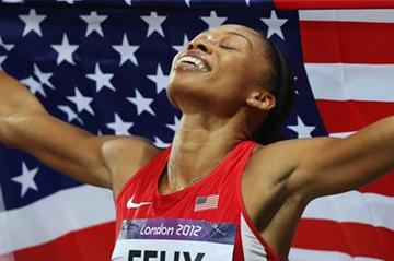 A dream comes true for Allyson Felix of the United States who won  the Women's 200m Final  of the London 2012 Olympic Games  on August 8, 2012 (Getty Images)