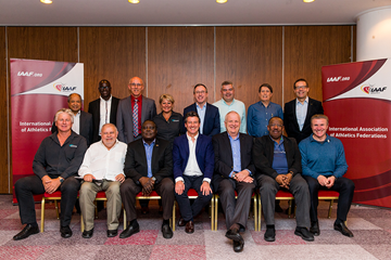 IAAF President Sebastian Coe with representatives from all six Area Associations (Philippe Fitte / IAAF)