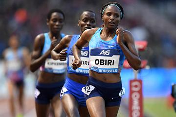 Hellen Obiri on her way to winning the 5000m at the IAAF Diamond League final in Brussels (Gladys Chai von der Laage)