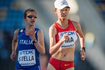 Ma Zhenxia in the 10,000m race walk at the IAAF World U20 Championships Bydgoszcz 2016 (Getty Images)