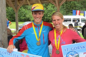2015 Gorski tek na Grintovec mountain race winners Nejc Kuhar and Karmen Klancnik  (WMRA)