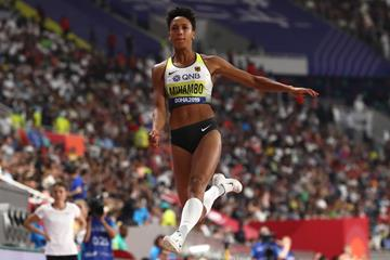 Malaika Mihambo in long jump qualifying at the IAAF World Athletics Championships Doha 2019 (Getty Images)