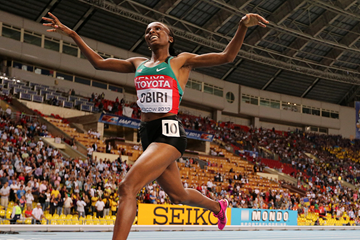 Hellen Obiri at the IAAF World Championships (AFP / Getty Images)