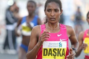 Mamitu Daska en route to her upset victory in Dubai (Victah Sailer)