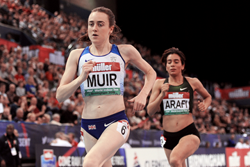 Laura Muir on her way to winning the mile at the IAAF World Indoor Tour meeting in Birmingham (Mark Shearman)