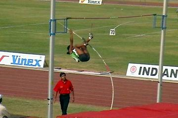 Vazhipali Suresh Surekha (India) leaps to national record in New Delhi (Rahul Pawar)