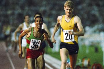 Steve Cram en route to the world 1500m record in Nice on 16 July 1985 (Getty Images)