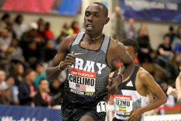 Paul Chelimo in the 3000m at the IAAF World Indoor Tour meeting in Boston (Victah Sailer)
