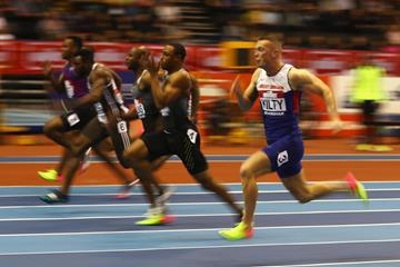 Ronnie Baker, second from right, en route to his 60m victory at the Muller Indoor Grand Prix in Birmingham (Getty Images)