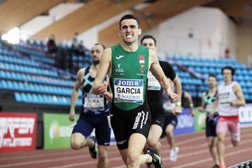 Mariano Garcia wins the 800m at the World Athletics Indoor Tour Gold meeting in Madrid (Jean-Pierre Durand)
