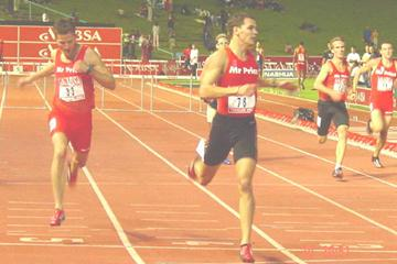 Okkert Cilliers wins the 400m Hurdles in Tswane, South Africa (Mark Ouma)