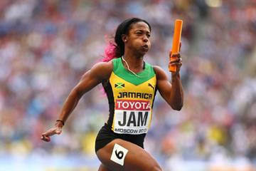 Shelly-Ann Fraser-Pryce in the womens 4x100m Relay at the IAAF World Championships Moscow 2013 (Getty Images)