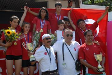 Turkey celebrate their success at the WMRA International Youth Cup (Nancy Hobbs)