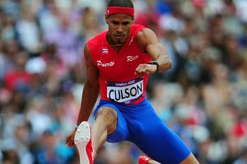 Javier Culson of Puerto Rico competes in the Men's 400m Hurdles Heats on Day 7 of the London 2012 Olympic Games at Olympic Stadium on August 3, 2012 (Getty Images  )