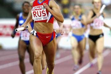 Svetlana Pospelova of Russia anchors the 4x400m relay to victory in the European Cup (Getty Images)