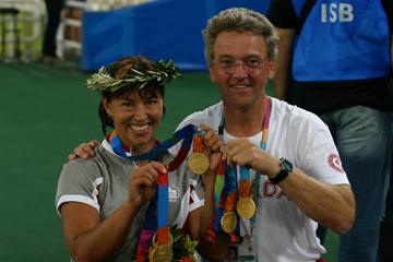Coach Peter Eriksson with Olympic champion Chantal Peticlerc (James Duhamel)