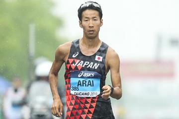 Hirooki Arai on his way to winning the men's 50km race walk at the IAAF World Race Walking Team Championships Taicang 2018 (Getty Images)