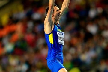 Bogdan Bondarenko in the mens High Jump at the IAAF World Athletics Championships Moscow 2013 (Getty Images)