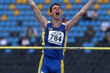 Bogdan Bondarenko of Ukraine celebrates his winning jump in the final of the men's high jump (Getty Images)