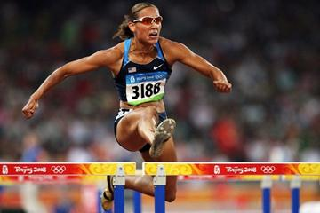 Lolo Jones of the USA eases through to the 100m hurdles semi final (Getty Images)