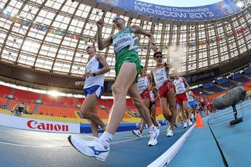 Robert Heffernan leads the 50km race walk at the 2013 IAAF World Championships in Moscow (Getty Images)