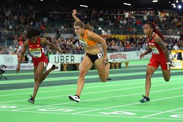 Barbara Pierre wins the 60m from Dafne Schippers at the IAAF World Indoor Championships Portland 2016 (Getty Images)