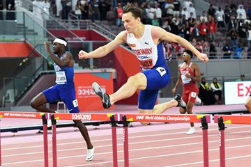 Karsten Warholm on his way to winning the 400m hurdles at the IAAF World Athletics Championships Doha 2019 (AFP / Getty Images)