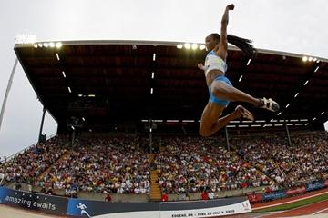 Funmi Jimoh at the 2008 US Olympic Trials where she finished third. (Getty Images)