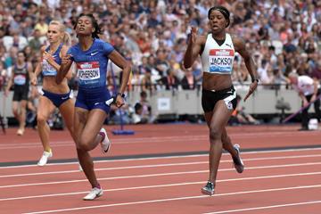 Shericka Jackson (r) in London (Kirby Lee)