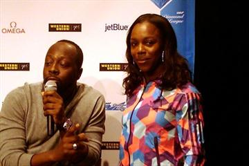 Veronica Campbell Brown with singer, songwriter and producer Wyclef Jean in New York (Paul Reid)