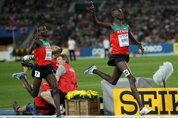 Asbel Kiprop of Kenya claims victory ahead of Silas Kiplagat of Kenya in the men's 1500 metres final  (Getty Images)