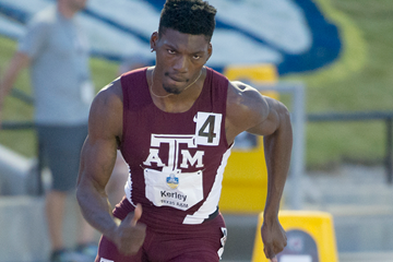 Fred Kerley in action in the 400m (Shawn Price / Texas A&M University)