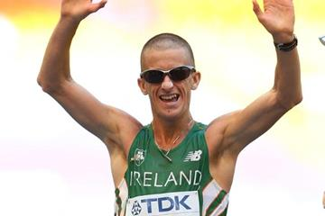 Robert Heffernan wins the men's 50km race walk at the IAAF World Championships Moscow 2013 (Getty Images)