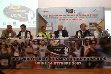 Udine - from left: Luciano Baraldo, Alberto Cova, Stefano Baldini, Enrico Bertossi, LOC President, Ennio Della Mea, Executive Director, Venanzio Ortis (loc)