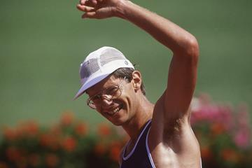 Hartwig Gauder after winning the 50km race walk at the 1987 World Championships in Rome (Getty / Bongarts)
