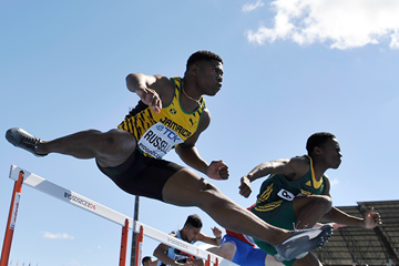 Jamaica's Dejour Russell in the 110m hurdles at the IAAF World U20 Championships Bydgoszcz 2016 (Getty Images)