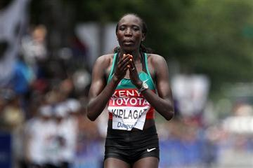 Edna Kiplagat triumphant in Daegu (Getty Images)
