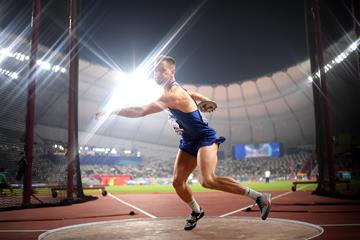 Janek Oiglane in the decathlon discus at the IAAF World Athletics Championships Doha 2019 (Getty Images)