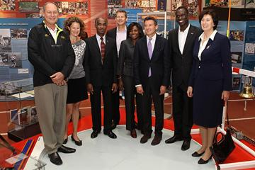 Alberto Juantorena, Sonia O'Sullivan, Don Quarrie, Steve Cram, Pauline Davis-Thompson, Sebastian Coe, David Rudisha, and Irena Szewinska at the IAAF Centenary Historic Exhibition (Giancarlo Colombo)
