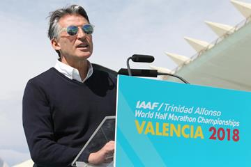 IAAF President Sebastian Coe at the IAAF/LOC press conference in Valencia (Jean-Pierre Durand)