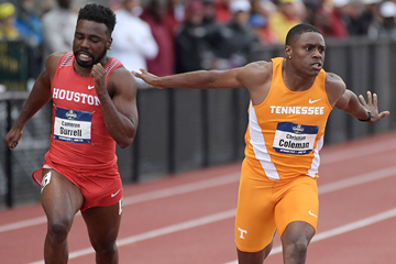 Christian Coleman wins the 100m at the NCAA Championships (Kirby Lee)
