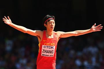 Zhang Guowei in high jump qualifying at the IAAF World Championships, Beijing 2015 (Getty Images)