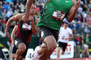 Ashton Eaton en route to a comfortable overnight lead at the 2010 US championships (Getty Images)
