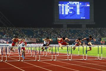 Xie Wenjun on his way to winning the 110m hurdles in Jinhua (Organisers)