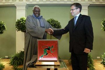 IAAF President Lamine Diack (l) and Mayor of Helsinki Mr. Jussi Pajunen (r) at the City Hall of Helsinki on Sunday, Aug. 14th. 2005 (Hannu Jukola)
