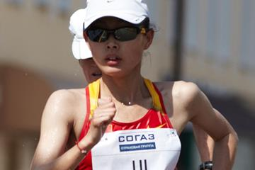 Chinese race walker Lu Xiuzhi in action in the women's race (Getty Images)