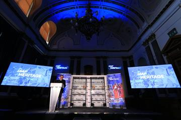 IAAF President Sebastian Coe at the IAAF Heritage Collection launch in Birmingham (Getty Images)